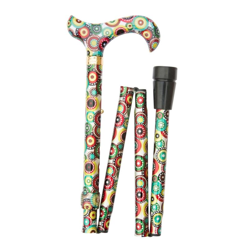 Adjustable Folding Fashion Derby Handle Concentric Circles Walking Stick