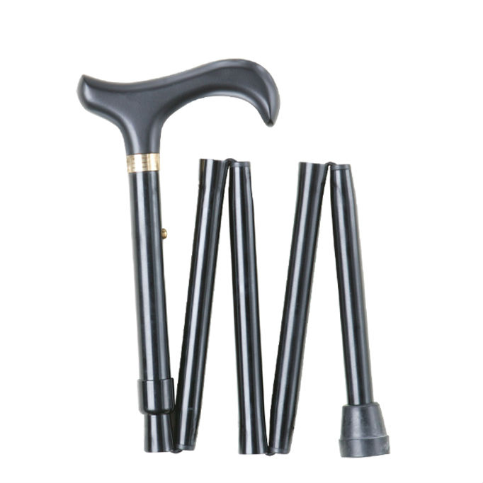 Short Height-Adjustable Mini Folding Black Derby Walking Stick