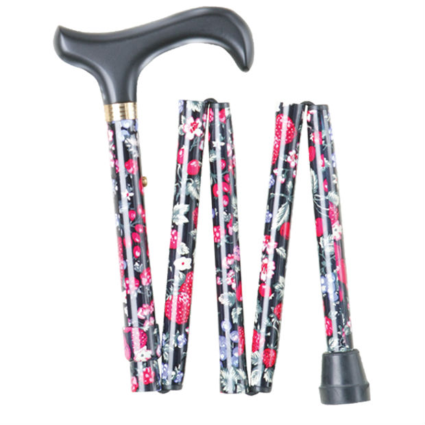 Short Height-Adjustable Mini Folding Fruit Pattern Derby Walking Stick