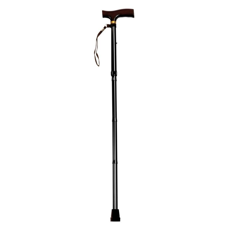 Drive Medical Black Adjustable Walking Stick with Luxury Wooden Handle