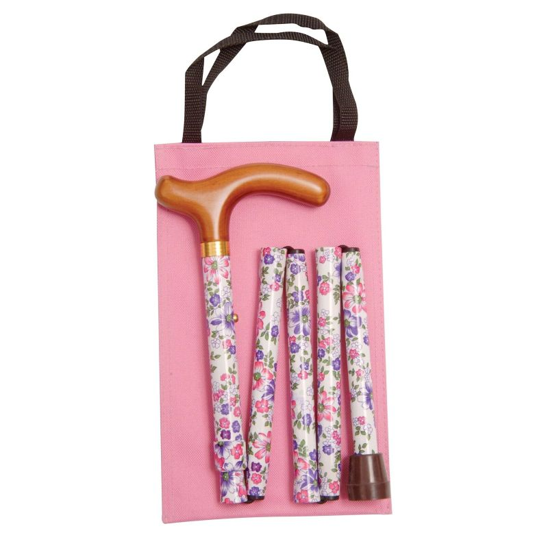 Handbag-Sized Adjustable Folding White, Pink and Purple Floral Walking Cane