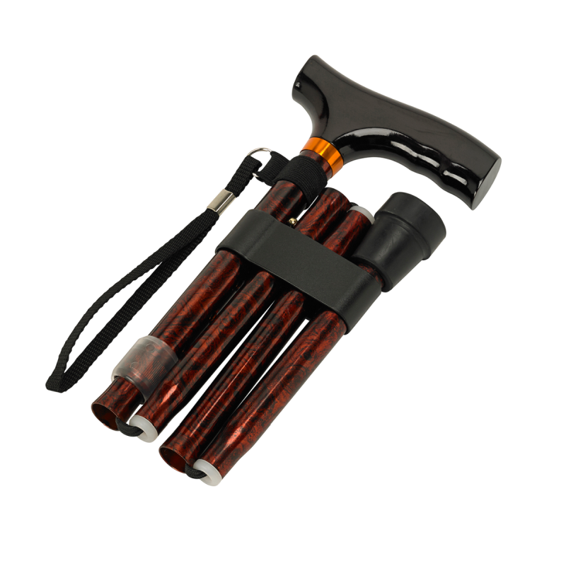 Walnut Height Adjustable Folding Cane with Crutch Handle
