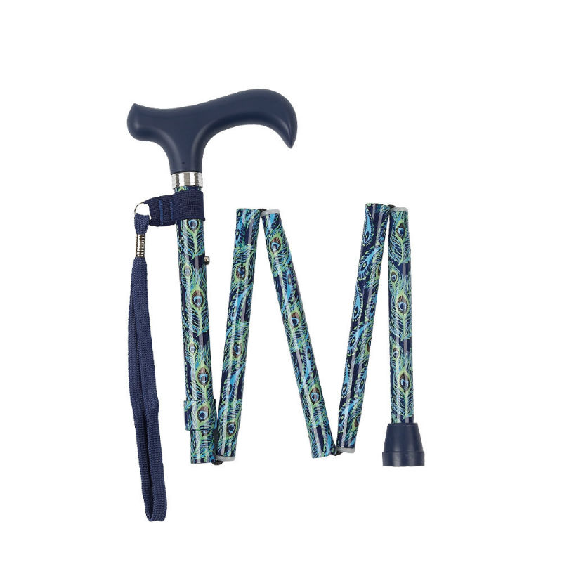 Height-Adjustable Mini Folding Peacock-Patterned Derby Walking Stick