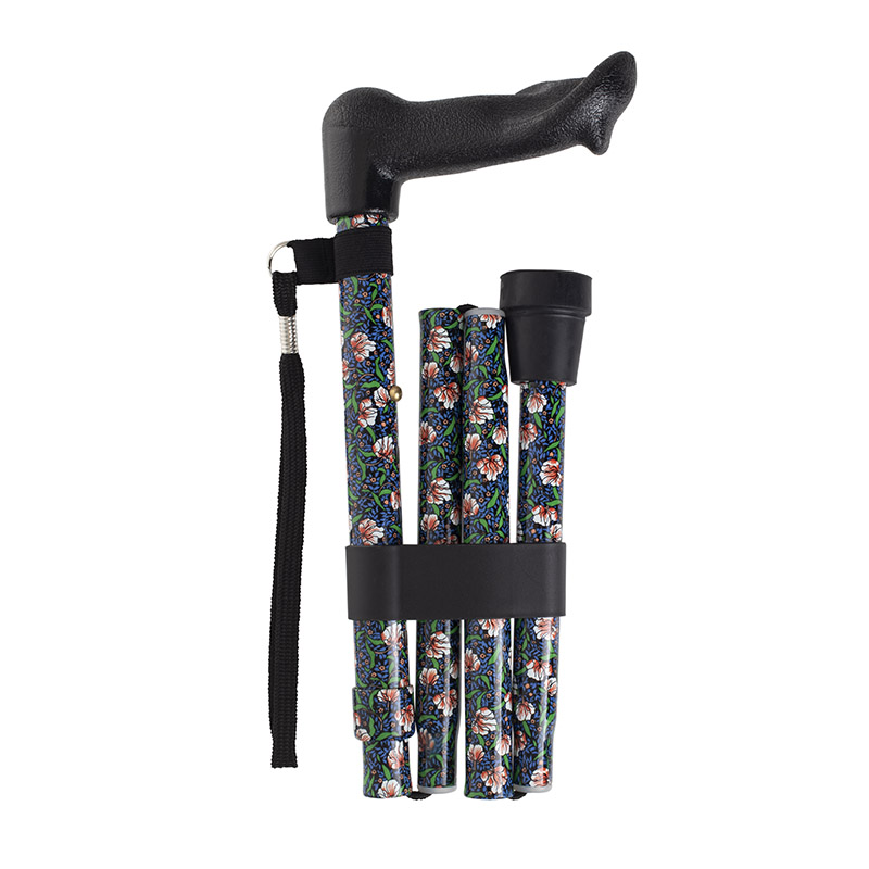 Height-adjustable folding morris anatomical walking stick