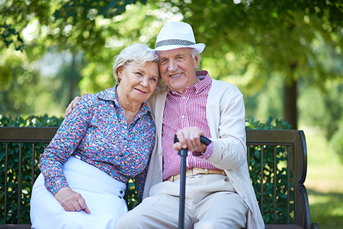 Happy Elderly Couple with Walking Stick