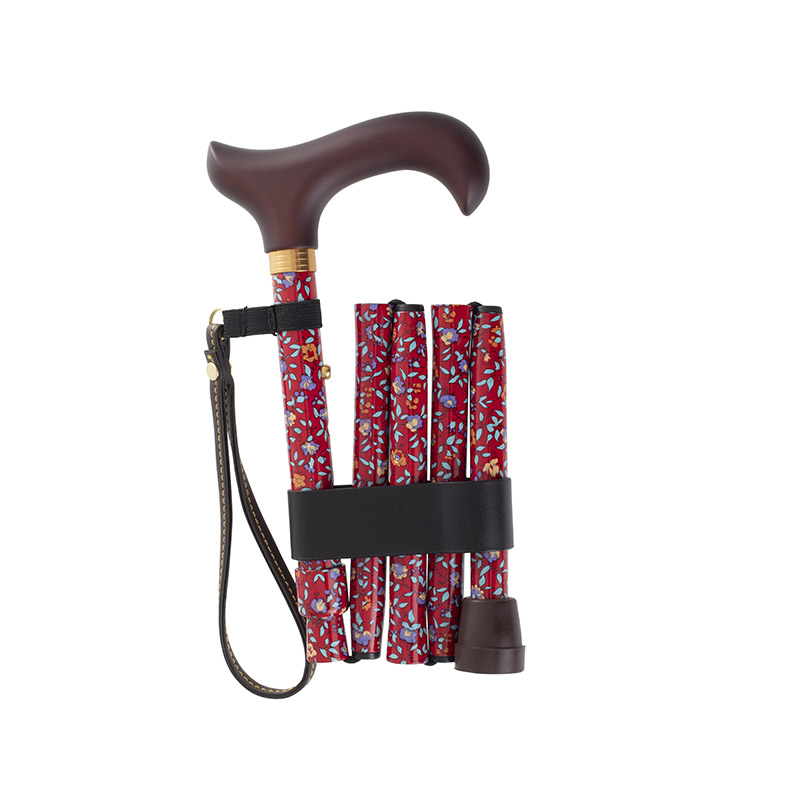 Short Height-Adjustable Mini Folding Red Floral Derby Walking Stick