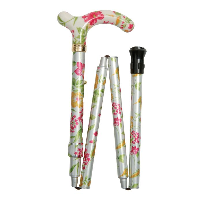 Petite Adjustable Folding Easy-Joint Cream Floral Walking Cane