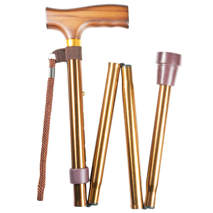 Height-Adjustable Folding Copper Crutch Handle Walking Stick