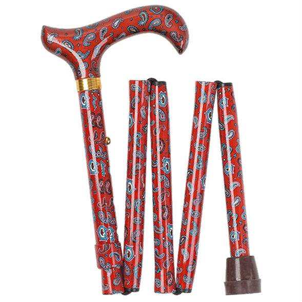 Height-Adjustable Paisley Mini Folding Derby Walking Stick