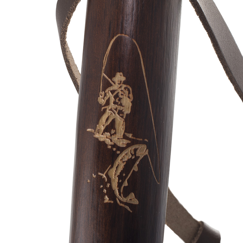 Chestnut Hiking Staff with Fisherman Carving