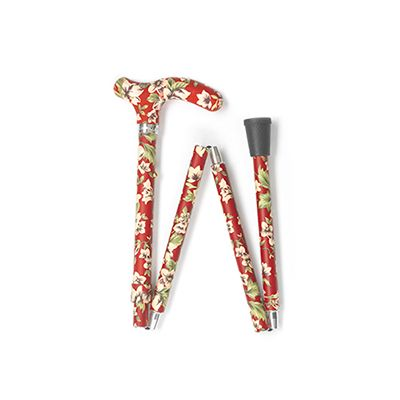Easy Folding Adjustable Red and White Flower Derby Walking Stick
