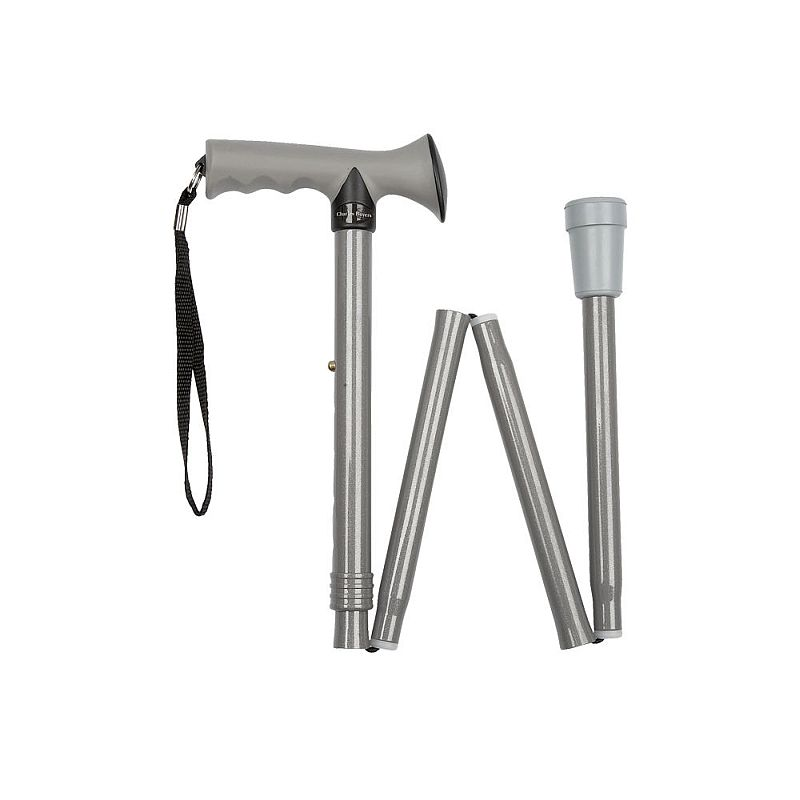 Height adjustable folding silver gel handle walking stick