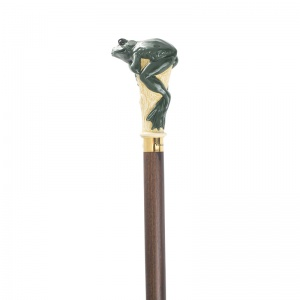 Hand Painted Green Frog Hardwood Cane