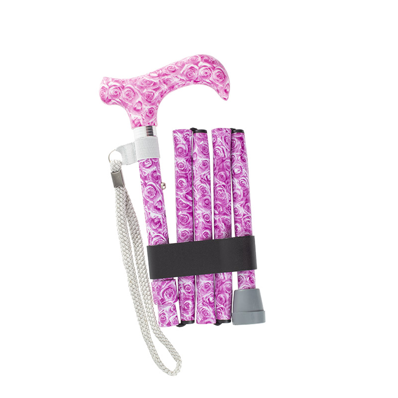 Height-Adjustable Rose-Patterned Mini Folding Derby Walking Stick